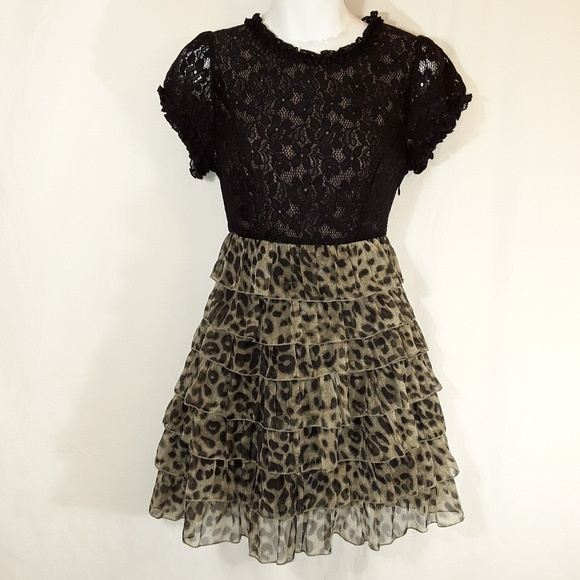 Twelve by Twelve Dresses & Skirts - Black Lace & Leopard Print Tiered Dress